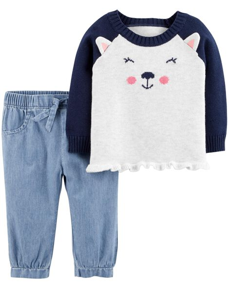 Display product reviews for 2-Piece Dog Sweater & Chambray Pant Set