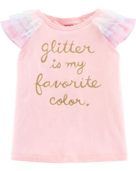 Display product reviews for Glitter Tulle-Sleeve Top