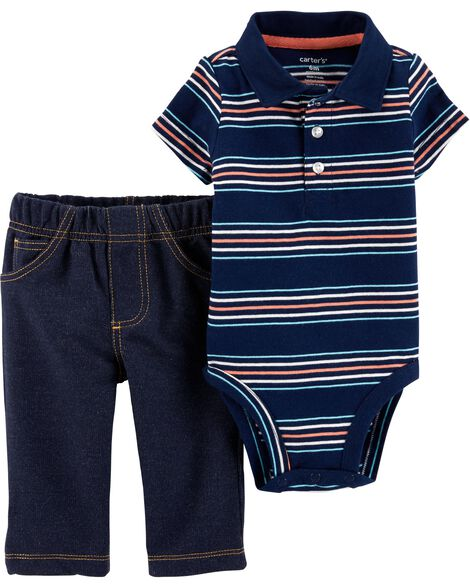 Display product reviews for 2-Piece Polo Style Bodysuit Pant Set