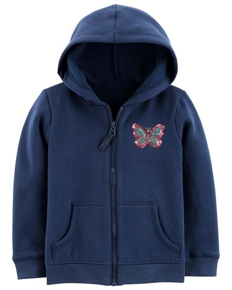 Display product reviews for Zip-Up Sequin Butterfly Hoodie