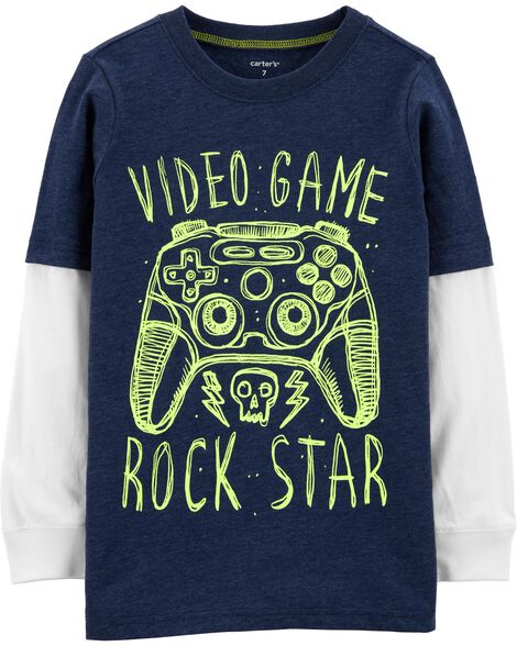 Display product reviews for Video Game Snow Yarn Layered-Look Tee