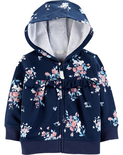 Display product reviews for Floral Zip-Up French Terry Hoodie