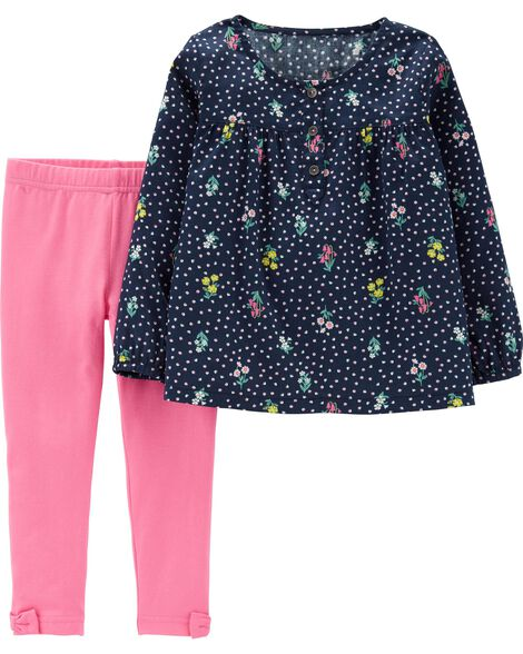 Display product reviews for 2-Piece Floral Sateen Top & Legging Set