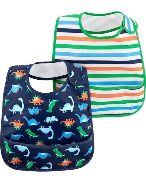 Display product reviews for 2-Pack Stripes & Dinosaur Feeding Bibs
