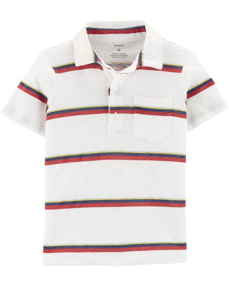 Display Product Reviews For Striped Slub Jersey Polo