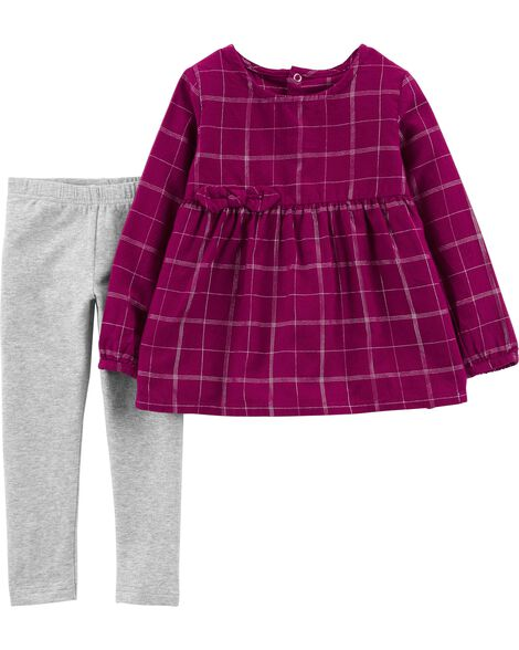 Display product reviews for 2-Piece Checkered Flannel Top & Glitter Legging Set
