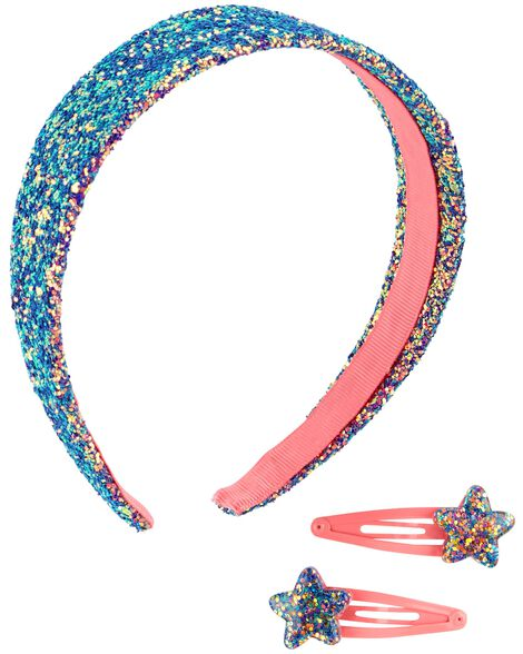 Display product reviews for 3-Pack Glitter Headband & Hair Clips Set