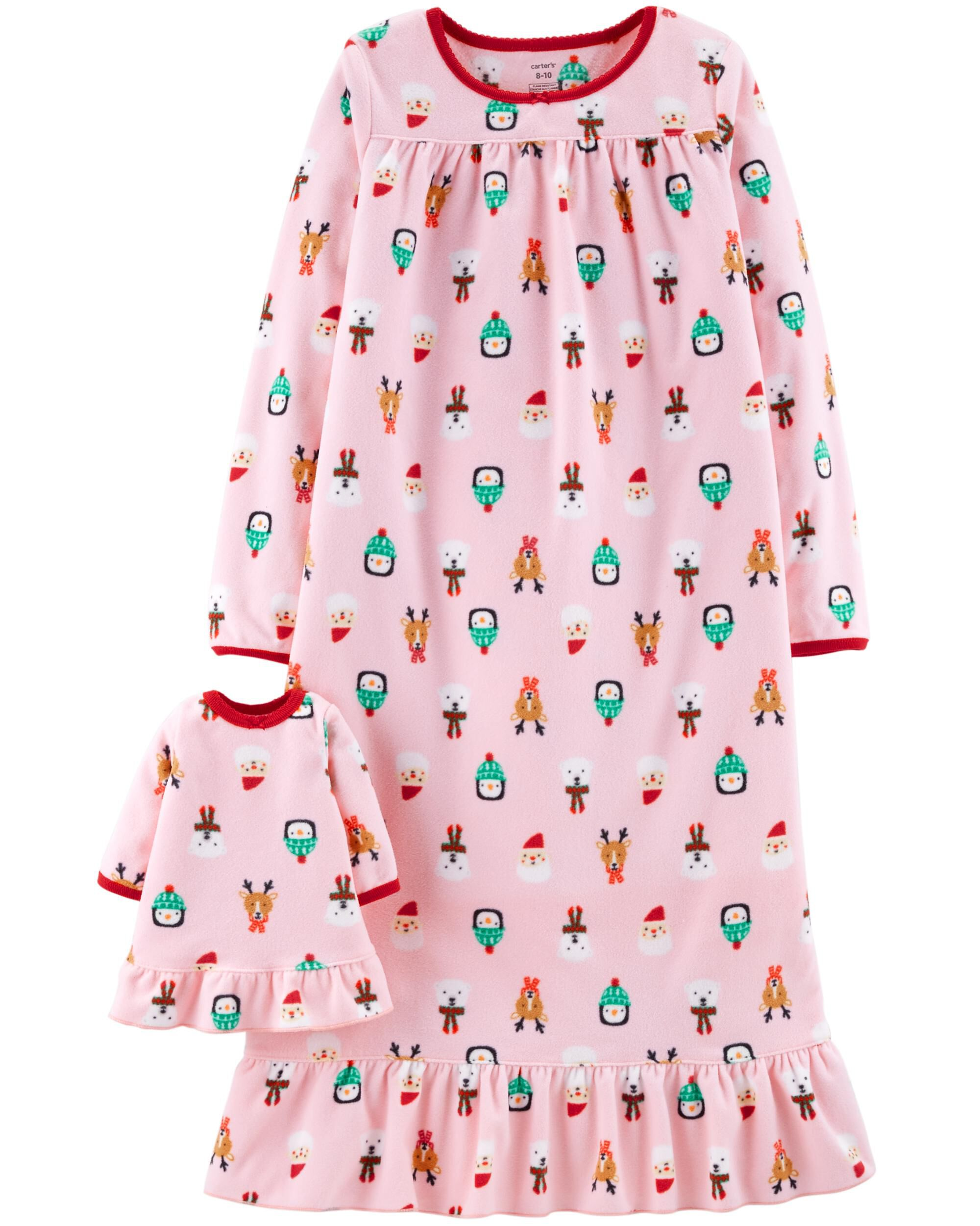 2-Pack Doll Christmas Fleece Sleep Gowns | Carters.com