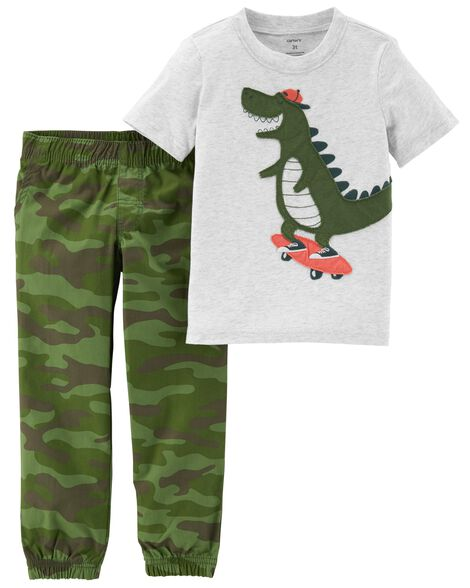 Display product reviews for 2-Piece Dinosaur Tee & Camo Pant Set