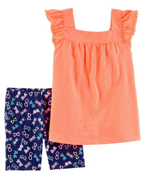 Display product reviews for 2-Piece Neon Striped Flutter-Sleeve Top & Tumbling Short Set