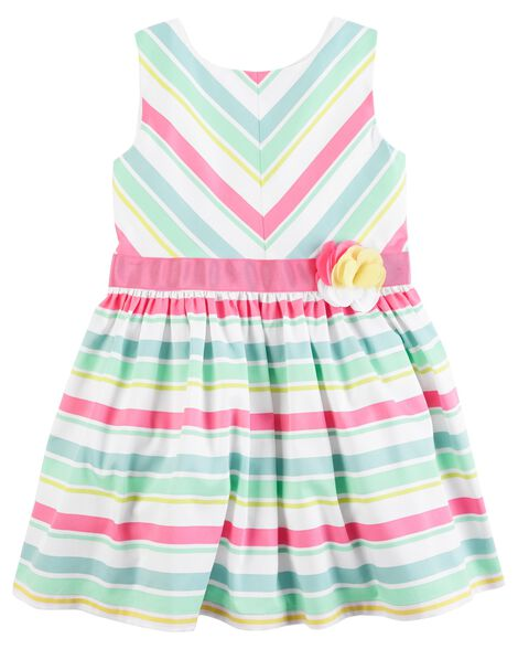 Display Product Reviews For Striped Rosette Dress