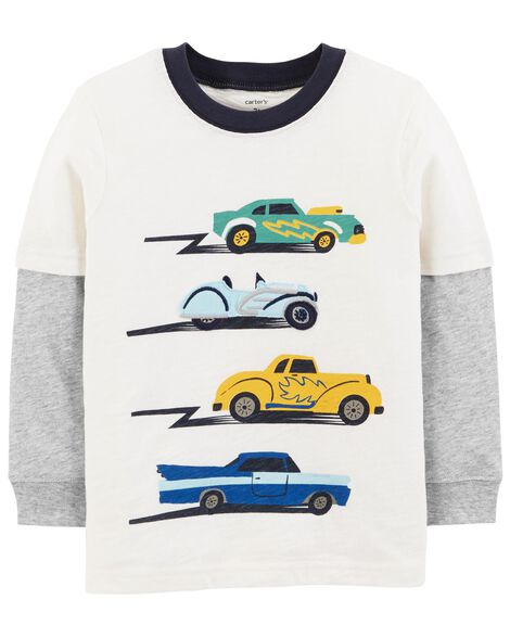 Display product reviews for Car Layered-Look Slub Textured Tee