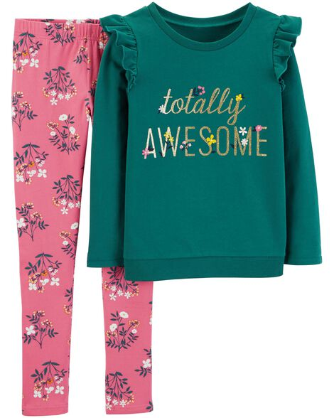 Display product reviews for 2-Piece Totally Awesome Tee & Floral Legging Set