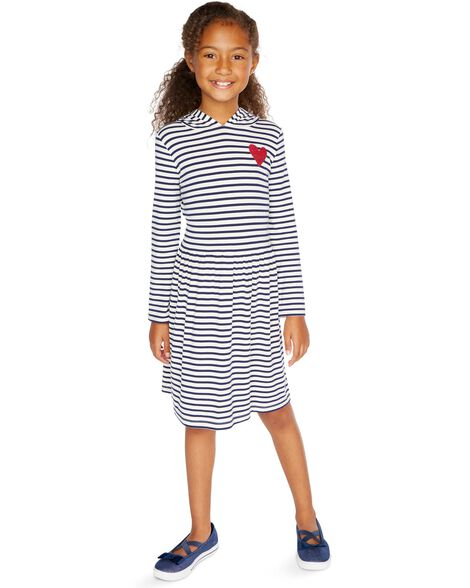 Display product reviews for Striped Heart Hooded Jersey Dress