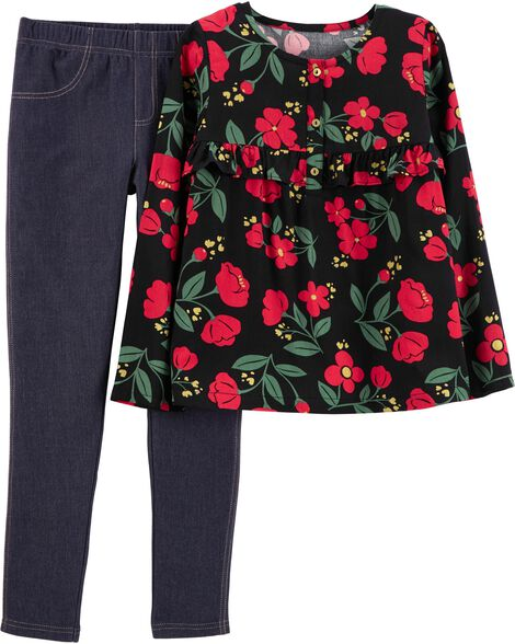 Display product reviews for 2-Piece Floral Poplin Top & Jegging Set