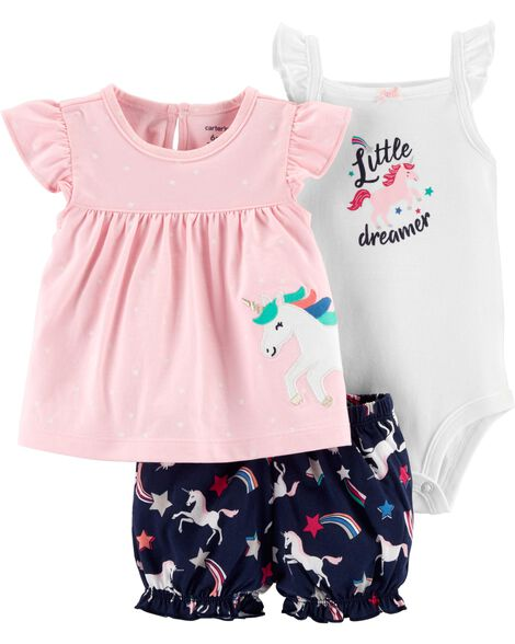 Display product reviews for 3-Piece Unicorn Little Short Set